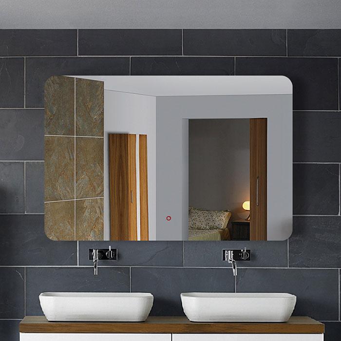28 x 36 po miroir horizontal argent led salle de bains avec interrupteur tactile dk od no1 - Interrupteur miroir salle de bain ...