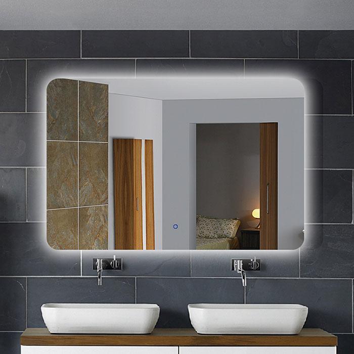 36 x 28 po miroir de salle de bain LED horizontal avec bouton tactile  (DK-OD-NO1)