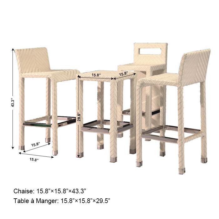 Rotin en pe salle manger de jardin de 4 pi ces table for Table salle a manger en rotin