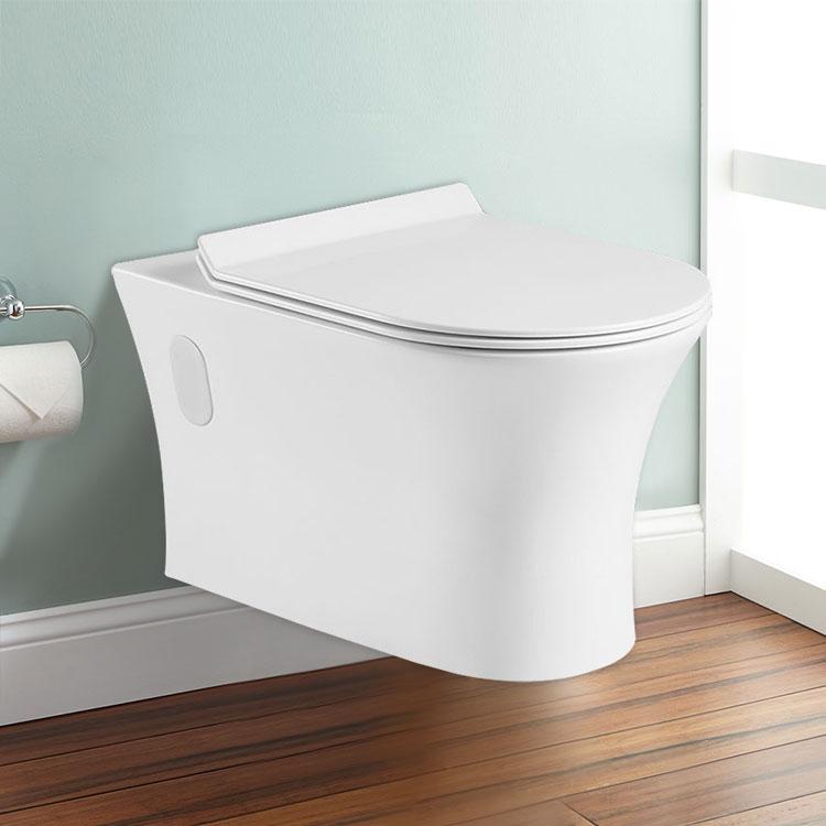 cuvette de toilette murale suspendue au mur blanc dk. Black Bedroom Furniture Sets. Home Design Ideas