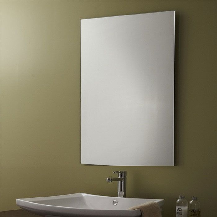 Decoraport unframed bathroom vanity wall hall mirror for Grand miroir sans cadre