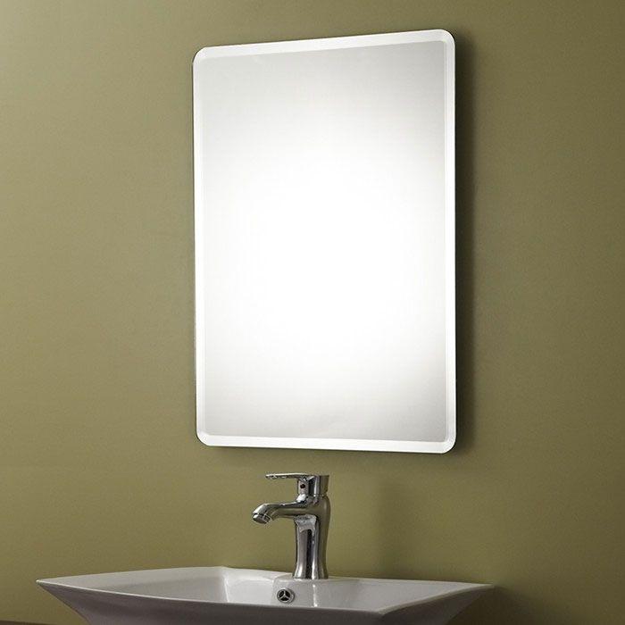 Decoraport frameless rectangle bathroom wall hall mirror for Miroir argente