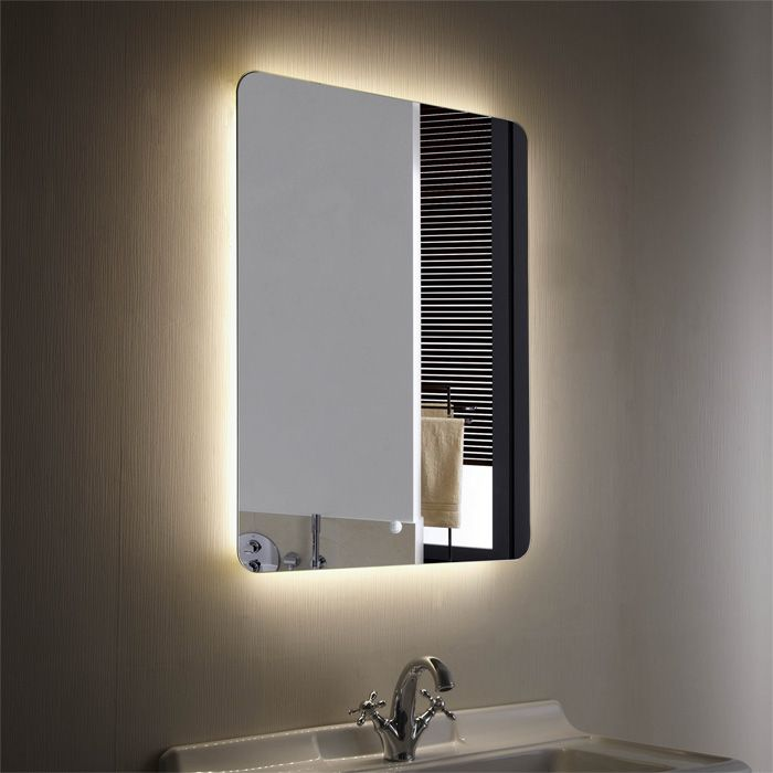 Decoraport vertical illuminated led wall bathroom silvered for Miroir horizontal blanc