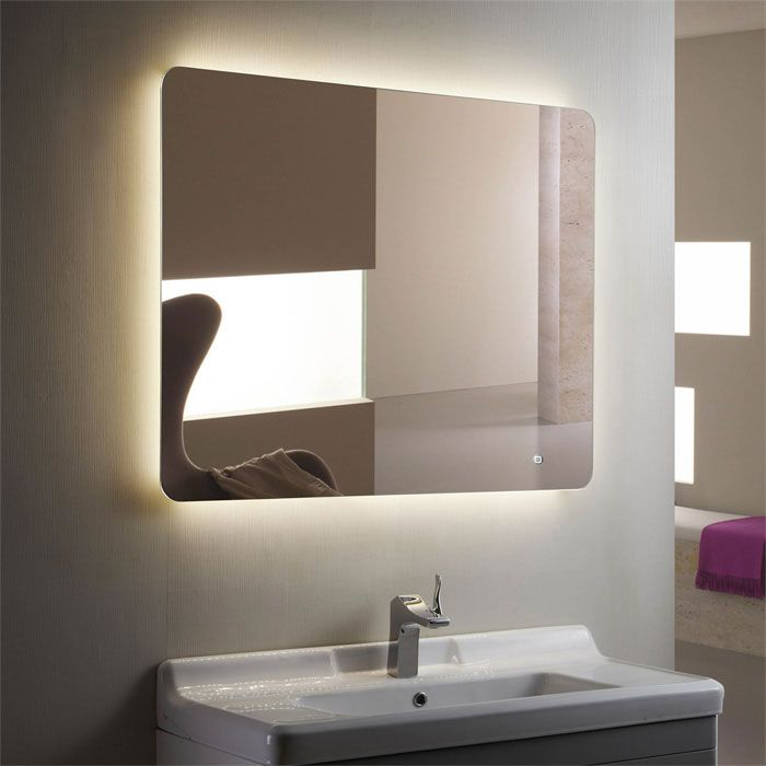 LED Illuminated Lighted Bathroom Bar Wall Decora Mirror Touch Button