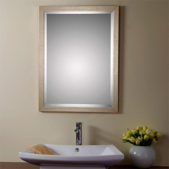 24 x 32 po miroir r versible argent avec cadre en bois - Miroir salle de bain cadre bois ...