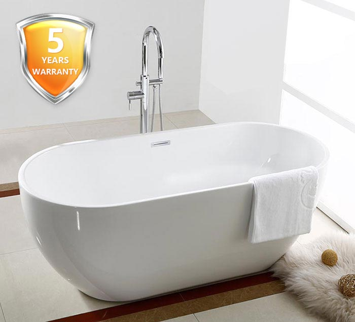 60 In Seamless White Acrylic Freestanding Bathtub DK AT 11572 Decoraport